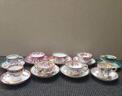 MINTON Set of tea and coffee cups and saucers with polychrome decoration printed...