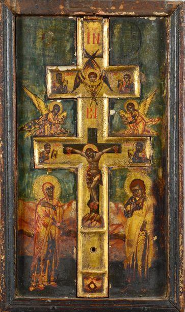 Icône de la Crucifixion Tempera et or sur...