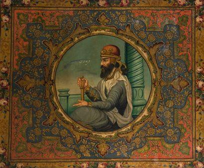 Portrait du roi Fereydoun, Iran, fin XIXe....
