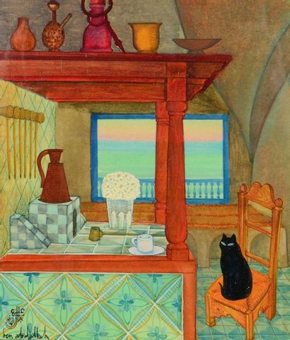 Jellal BEN ABDALLAH (Tunis, 1921-2017) View of a kitchen animated by a black cat...