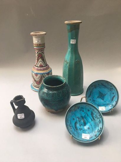 Narghile bottle and base in ceramic, Iran qâjâr, 19th century The first one with...