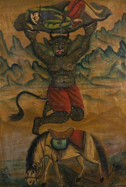 Rostam porté par le démon Akvan-é Div, Iran...