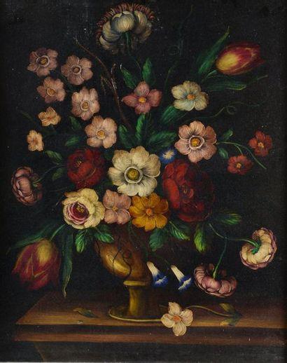 Paire de natures mortes, fleurs en coupe...