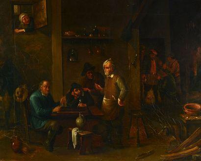 Scène de taverne  Huile sur toile (rentoilée,...