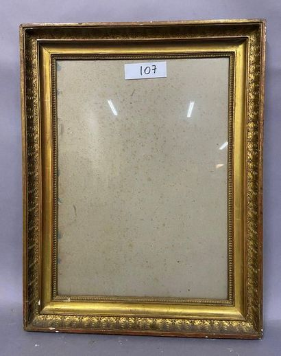 Wooden frame with a double groove in gilded...