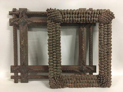 Wooden frame and pine nut veneer.  Folk art...
