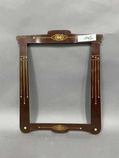 Frame with entablature in varnished wood...