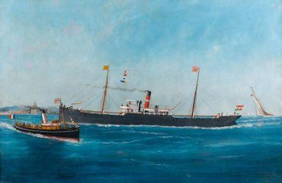 Edouard ADAM (1847-1929), (attribué à) Le mixte Anna devant Marseille Huile sur toile,...