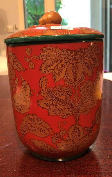Pot couvert fond rouge  H : 20 cm Vendu...