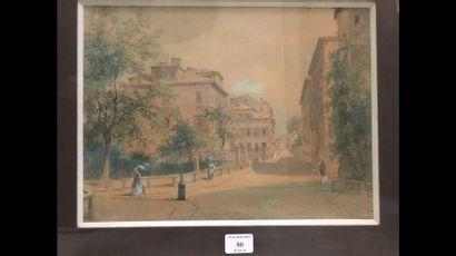 École FRANÇAISE vers 1880 Promeneurs dans...