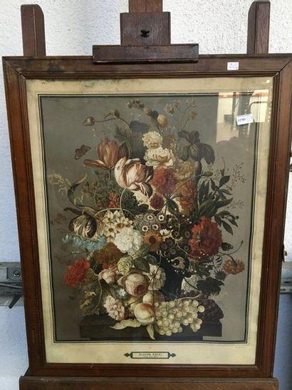 Paire de gravures  Bouquet de fleurs  75x68...