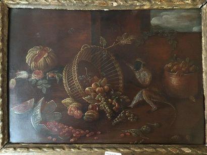Nature morte au panier et bol cassé, huile sur cuivre (vue par M; Turquin : vers...