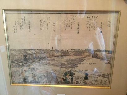 JAPON  Paire Vue portuaire  Page de manga...