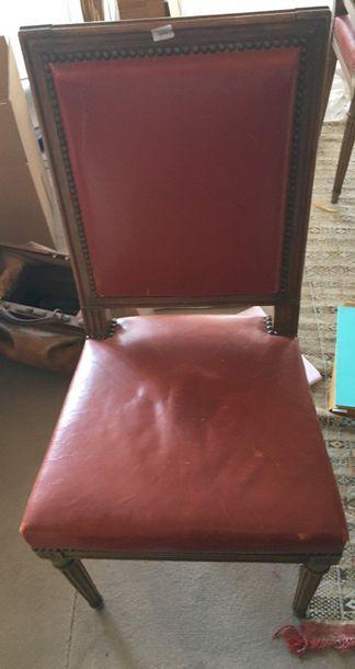 Suite de quatre chaises en bois naturel  Style...