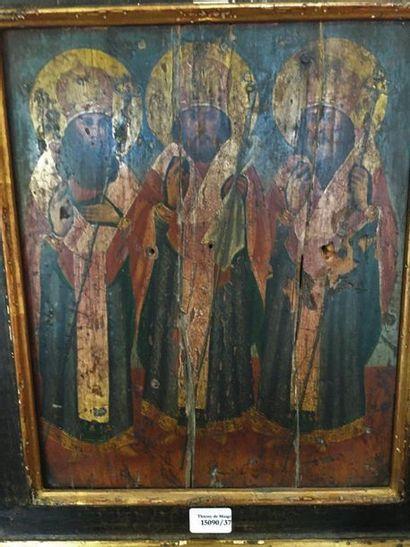 Icône : Trois saints  Russies, XIXème siècle...