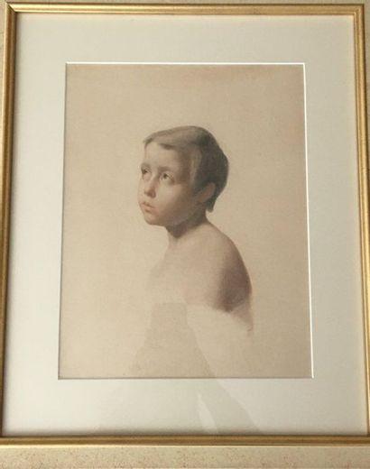 Lot :  Christ  33x23,5cm  Paire d'aquarelles Enfants  31x24