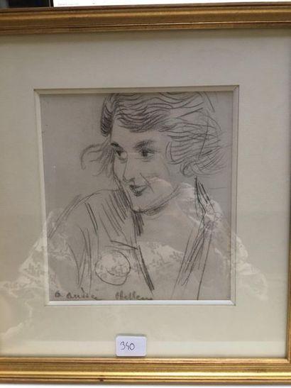 Portrait d'Andrée. Dessin au crayon noir,...