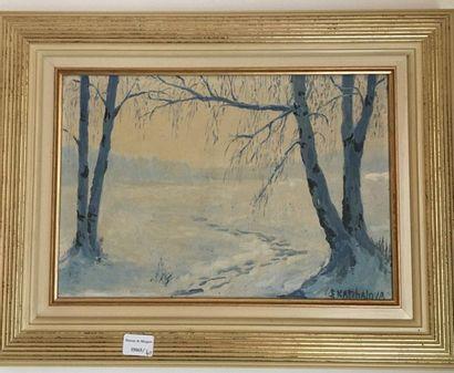 Ecole Moderne Trois tableaux :  Vue neige, paysage abstrait, personnages  48x48  27x35...