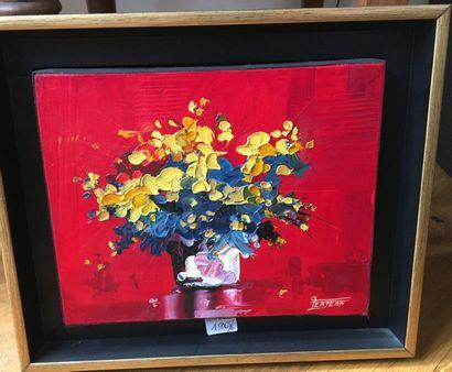 VERJEAN Deux bouquets  SBD  38x46 cm  20x24 cm