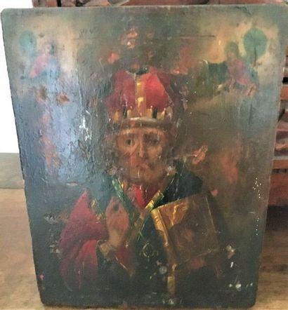 Icône Vierge à l'enfant  Russie  XIX - XX  On y joint un personnage religieux  22x17,5...
