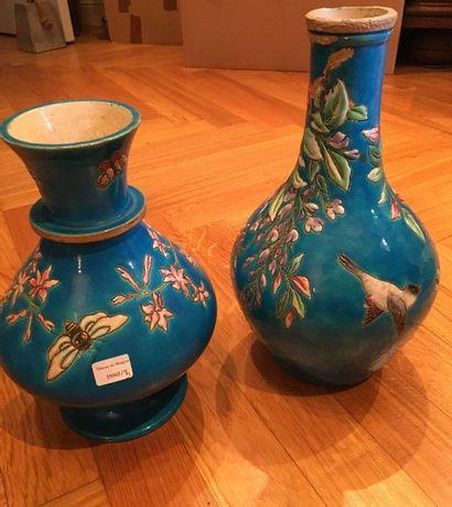 LONGWY  Deux vase fond bleu perse  H :...