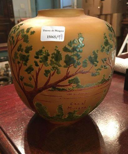 MURANO  Vase boule émaillé  H:17 cm  diamétre...