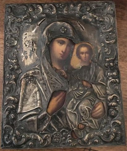 Icône Vierge à l'enfant  Russie  XIX - XX...