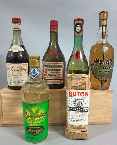 5 bouteilles LIQUEUR (Maraschinon, Vervelte,...