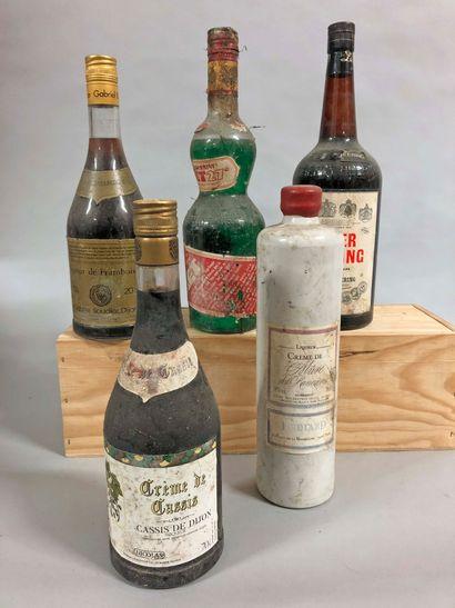 5 bouteilles LIQUEUR/CRÈMES (Heering, Mûre...