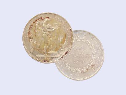 Pièce de 100 francs or 750 millièmes Génie,...
