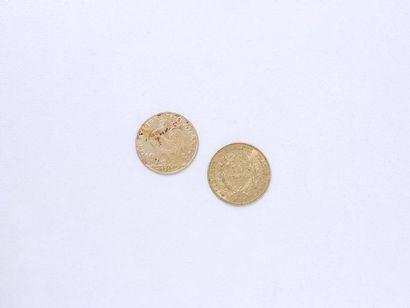 Lot en or 750 millièmes composé de: - 2 pièces...