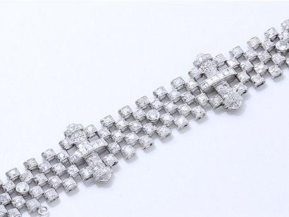 Élégant bracelet articulé en platine 850...