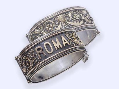 Bracelet jonc ouvrant en argent 800 millièmes partiellement recouvert d'or 750 millièmes...