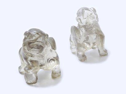 Figurine en cristal de roche sculpté, représentant...
