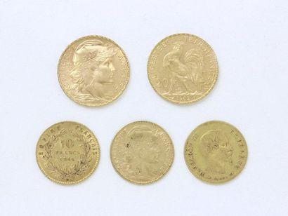Lot en or 750 millièmes, composé de 2 pièces...