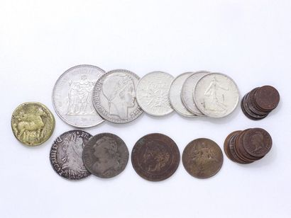 Lot de 7 pièces de monnaie en argent. On...