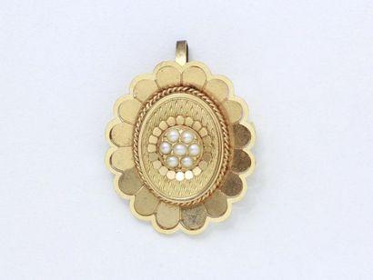 Broche pendentif ovale en or 750 millièmes...
