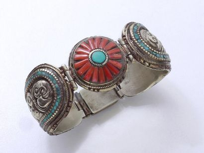 Bracelet manchette articulé en métal argenté,...