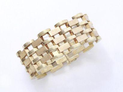 Bracelet articulé 2 tons d'or 585 millièmes,...