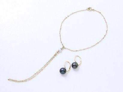 Lot en or 750 millièmes et perles de culture,...