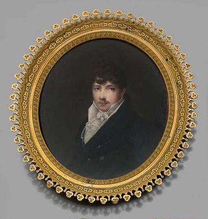 Louis-François AUBRY (1767-1851) Portrait d'homme à la redingote bleue Miniature...
