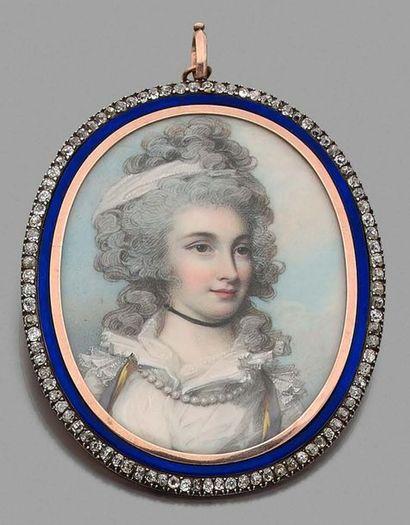 George ENGLEHEART (1752-1829), entourage de Portrait de femme au collier de perles...
