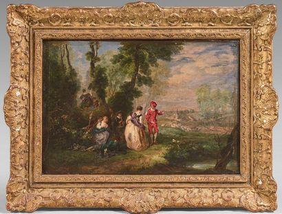 Attribué à VERON, dans le goût d'Antoine WATTEAU (actif à la fin du XIXe siècle)