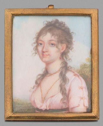 Étienne-Charles LE GUAY (1762-1846) Jeune-femme à la robe rose Portrait miniature...