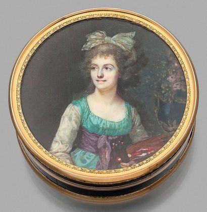 François DUMONT (1751-1831) Portrait présumé d'Anne Vallayer-Coster (1744-1818) Rare...