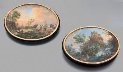 Claude-Edme-Charles de LIOUX DE SAVIGNAC (1734-après 1786) Paire de miniatures ovales...