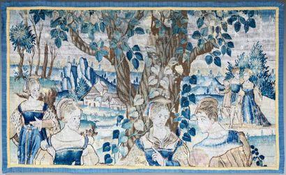 Fragment de tapisserie montrant des paysans...