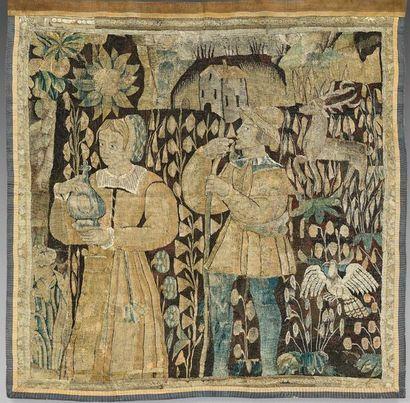Fragment de tapisserie représentant un couple...