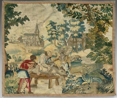 Beau fragment de tapisserie représentant...