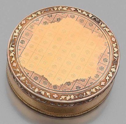 Bonbonnière en or 750 millièmes, à décor...